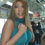 秋川ルイが電車で露出